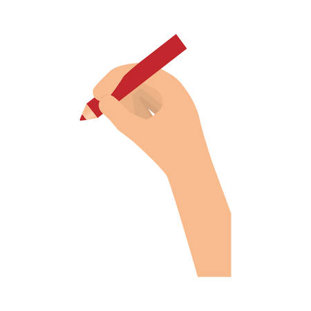 red pencil: hand holding red pencil icon image vector illustration design