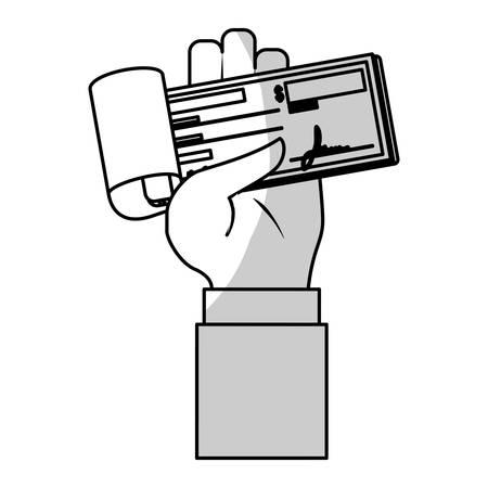 chequera: la mano con el icono del talonario de cheques sobre el fondo blanco. diseño de los pagos móviles. ilustración vectorial