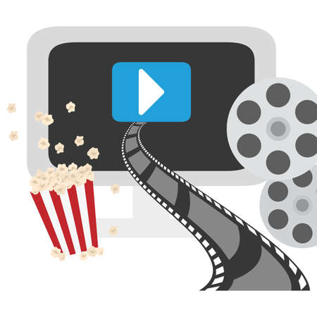 video or film on digital device screen and other related icons image vector illustration design Stock Photo