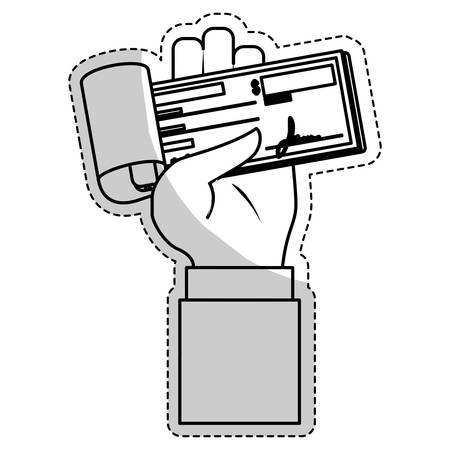 chequera: hand with checkbook icon over white background. mobile payments design. vector illustration Vectores