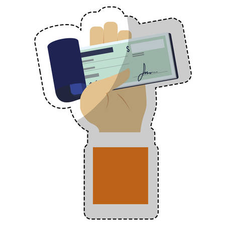 chequera: hand with checkbook icon over white background. mobile payments concept. colorful design. vector illustration