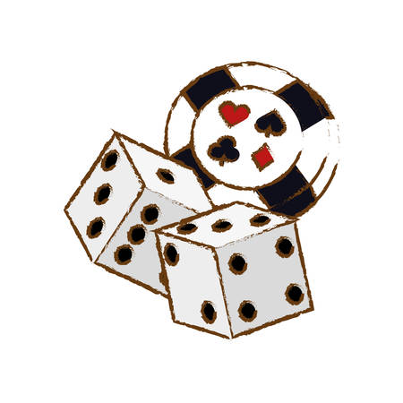 pair of dices and casino chip icon over white background. colorful design. vector illustration