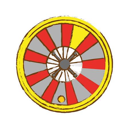 wheel of fortune: casino roulette wheel icon over white background. gambling games concept. colorful design. vector illustration