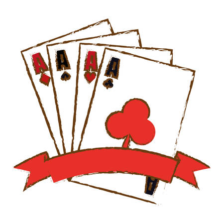 desing: poker cards icon over white background. gambling games concept. colorful desing. vector illustration Illustration