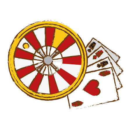 desing: poker cards and roulette wheel icon over white background. gambling games concept. colorful desing. vector illustration