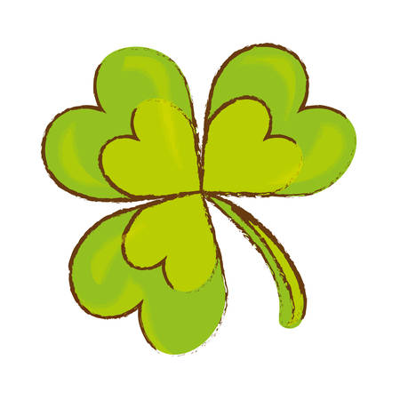 four fourleaf: green clover icon over white background. colorful design. vector illustration
