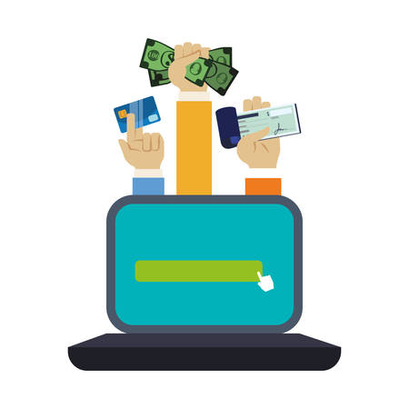 checkbook: laptop computer and hands holding a bills, credit card and checkbook over white background. colorful design. vector illustration Illustration