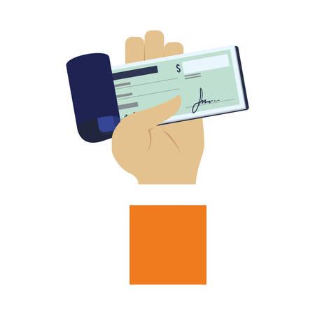 chequera: mano que sostiene un icono talonario de cheques sobre el fondo blanco. diseño colorido. concepto de pago por móvil. ilustración vectorial
