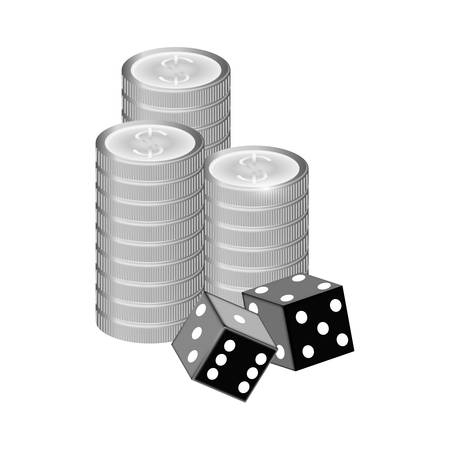 backgammon: pair of cubes and casino chips over white background. gambling games design. vector illustration