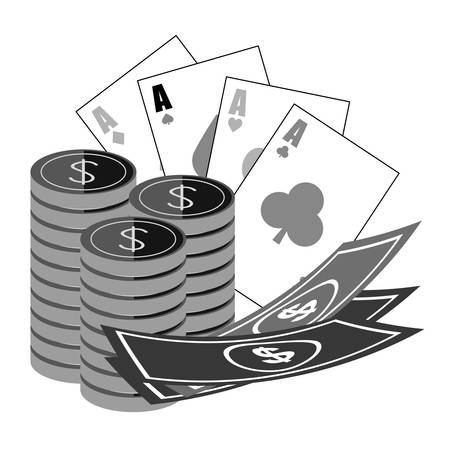 small group of objects: casino chips with poker cards and money bills icon over white background. vector illustration