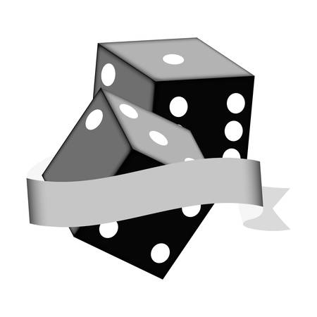 pair of dices icon with decorative ribbon over white background. vector illustration Illustration