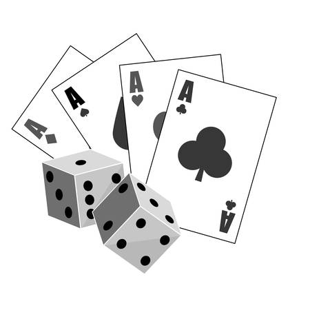 backgammon: poker cards and pair of dices over white background. gambling games design. vector illustration