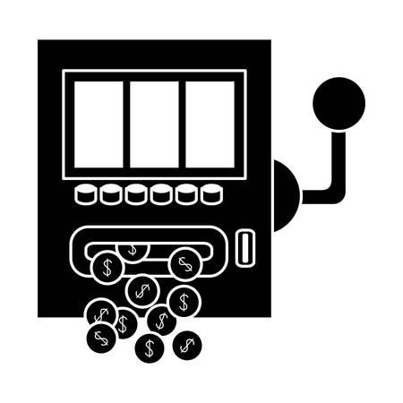 casino slot machine icon over white background. gambling games design. vector illustration