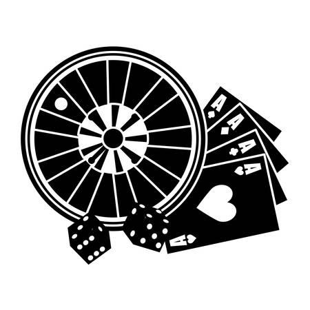 wheel of fortune: casino roulette wheel over white background. gambling games design. vector illustration