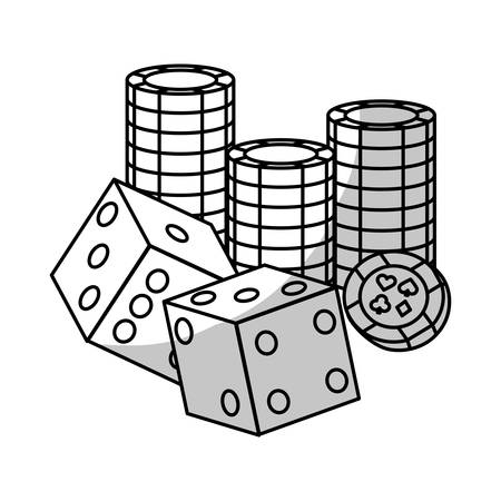 pair of cubes and casino chips over white background. gambling games design. vector illustration Vector Illustration