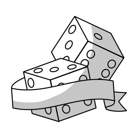 backgammon: pair of dices icon with decorative ribbon over white background. vector illustration Illustration