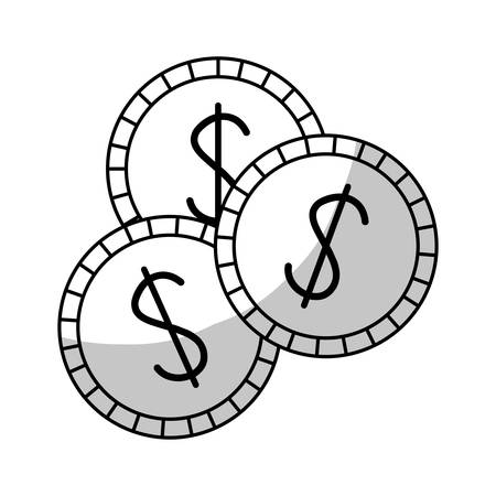 small group of objects: casino chips icon over white background. vector illustration