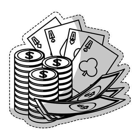 casino chips with poker cards and money bills icon over white background. vector illustration