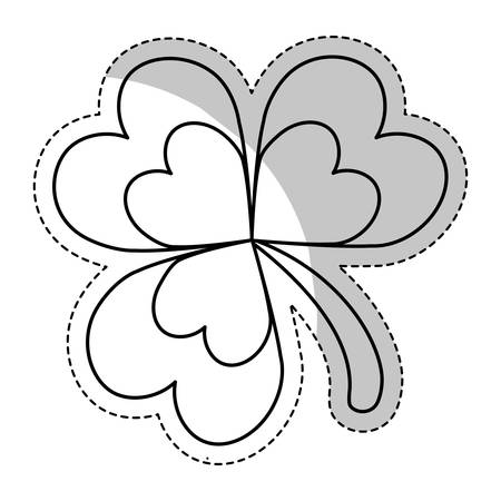 four fourleaf: clover icon over white background. vector illustration