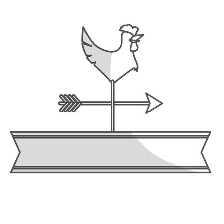 vane: rooster weather vane icon over white background. vector illustration