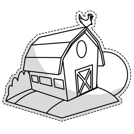 cultivating: sticker of farm barn icon over white background. white and black design. vector illustration Illustration