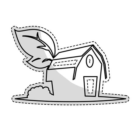 Sticker Of Farm Barn Icon Over White Background And Black Design Vector Illustration