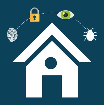 vigilance: home security lock system vigilance fingerprint vector illustration eps 10 Illustration