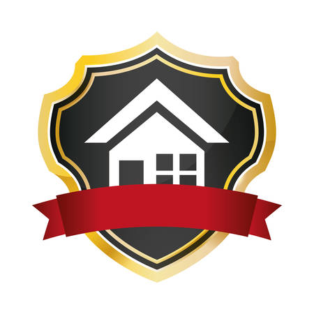 shield protected home security red banner vector illustration eps 10