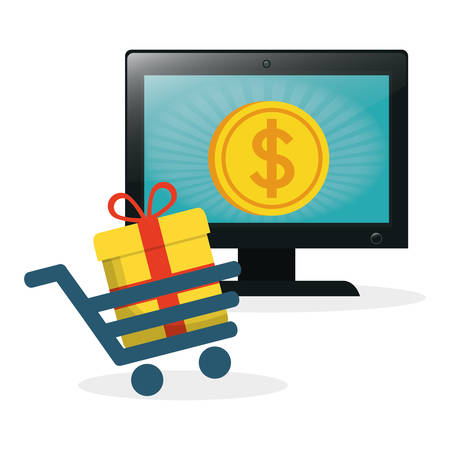 shopping online laptop cart gift coin gold vector illustration eps 10 Illustration