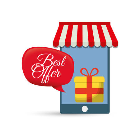 best offer smartphone online gift vector illustration eps 10