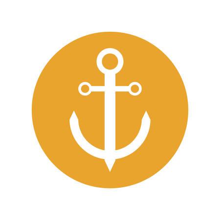 anchor nautical travel maritime yellow circle vector illustration eps 10 Illustration
