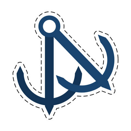 anchor nautical travel maritime cut line vector illustration eps 10