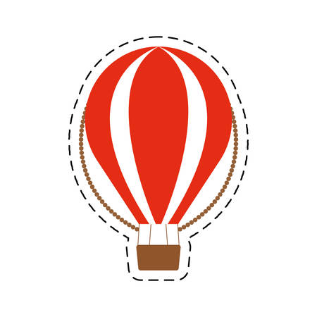 finding out: airballoon recreation vacation travel cut line vector illustration eps 10 Illustration