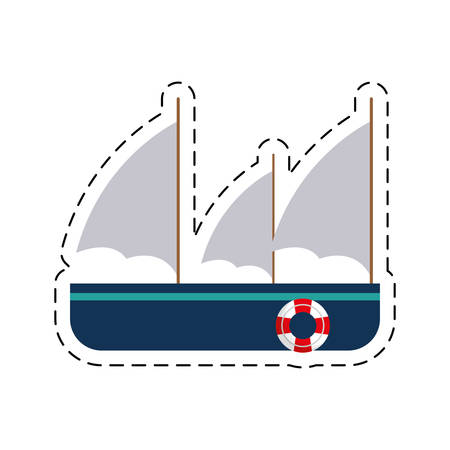 frigate recreation travel cut line vector illustration eps 10 Illustration