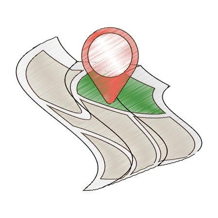 drawing map world pointer destination travel vector illustration eps 10 Illustration