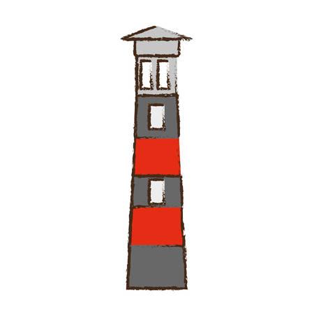 building sketch: lighthouse building sea color sketch vector illustration eps 10