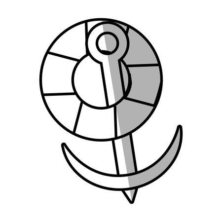 trawl: life buoy anchor nautical travel maritime line shadow vector illustration eps 10