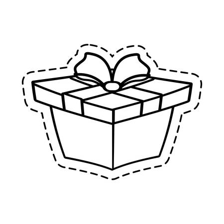 cut line: gift box ribbon wrapped cut line vector illustration eps 10