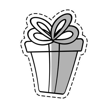 gift box ribbon event celebrate linea shadow vector illustration eps 10