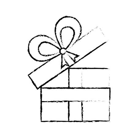 Open Gift Box Ribbon Anniversary Decorative Sketch Vector Illustration Eps 10 Stock