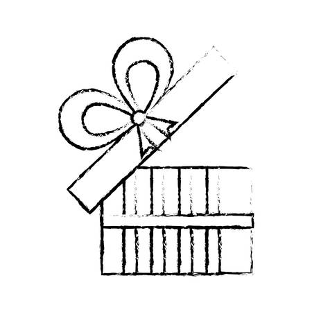 Open Gift Box Ribbon Give Party Sketch Vector Illustration Eps 10 Stock