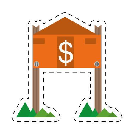 housing estate: real estate housing market value price cut line vector illustration eps 10