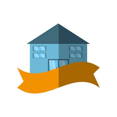 first house: real estate building emblem ribbon shadow vector illustration eps 10