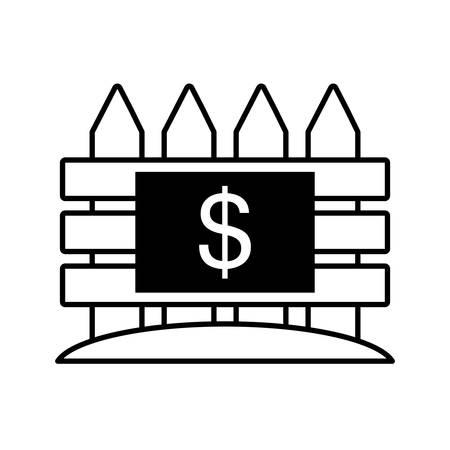 ladder  fence: real estate fence price dollar outline vector illustration eps 10 Illustration