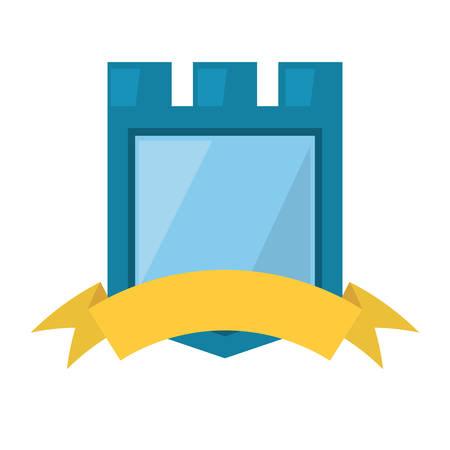 blue shield yellow ribbon badge vector illustration eps 10