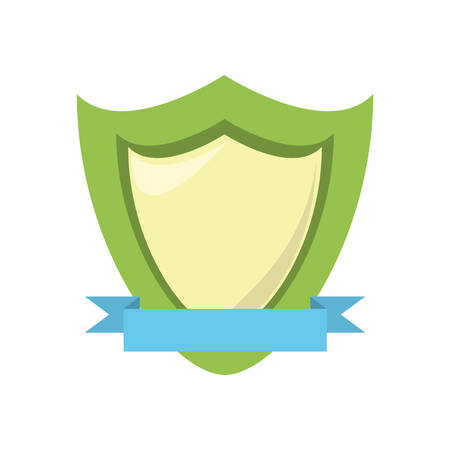 specials: green shield protection emblem blue ribbon vector illustration eps 10