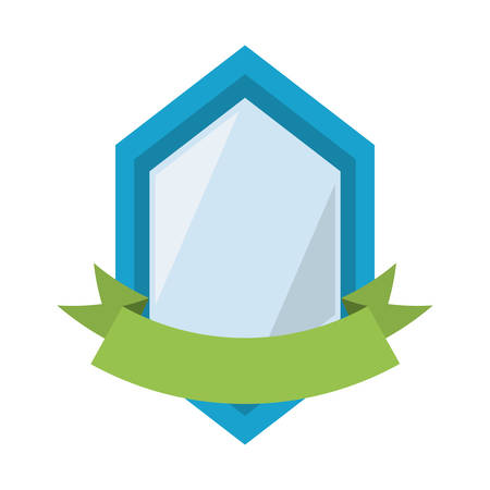 blue shield hexagon shadow and green ribbon vector illustration eps 10