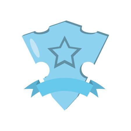 blue shield glossy star and blue ribbon vector illustration eps 10