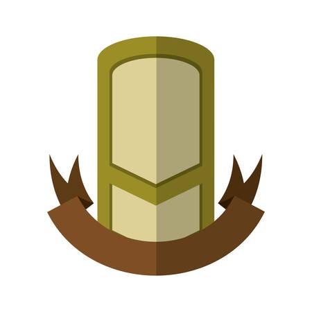 green vintage shield emblem with brown ribbon shadow vector illustration eps 10 Illustration