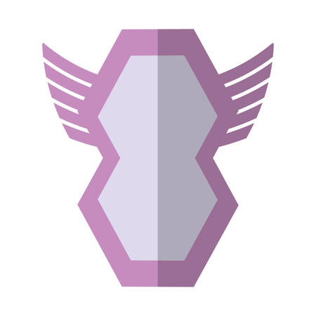 pink shield  winged shape geometric badge shadow vector illustration eps 10 Illustration